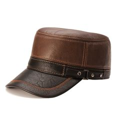 Men Warm Earflaps Leather Cap Flat Fleece Trucker Outdoor Sports Baseball Cap