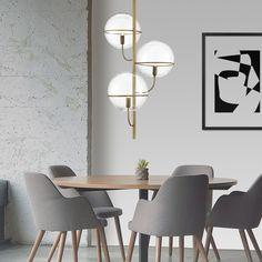Κομμάτι από την Luma Lighting, σε χρυσό ματ και διάφανες μπάλες.. Kitchens, Dining Table, Furniture, Home Decor, Decoration Home, Room Decor, Dinner Table, Kitchen, Home Furnishings