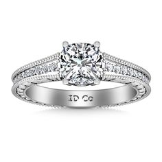 SIDE STONE ENGAGEMENT RING IN  14K WHITE GOLD