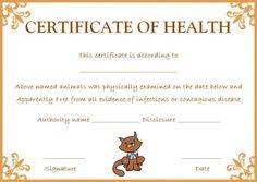 Pet health certificate template pet health certificate templates cat health certificate yelopaper Choice Image