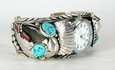 Authentic Native American Navajo Turquoise Coral Bear Claw Cuff Watch