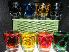 Set of 8 shot glasses Pokemon Shot Glasses Original Gym Badges Kanto on Etsy, $40.00 How did it happen that I'm the only person I know who would appreciate these?