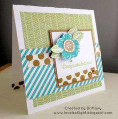 Levels of Light: CTMH Skylark - Set of Three Cards - Congratulations w/Funky Blossoms stamp set
