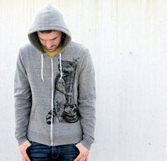 Mens Woodland RACCOON Peppered Grey Hoodie by darkcycleclothing, $55.00
