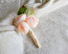 Champagne peonies flower wedding BOUTONNIERE custom corsage creme green satin ribbon peony - pinned by pin4etsy.com