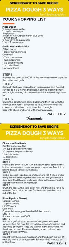 Pizza dough 3 ways