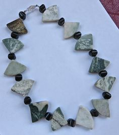Necklace of green marble Stone necklace Sage green by JoJosgems