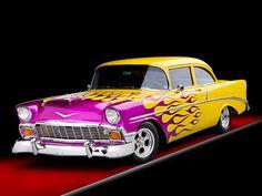 AUT 26 RK2696 01 - 1956 Chevrolet 210 Post Hot Rod Yellow Purple ...