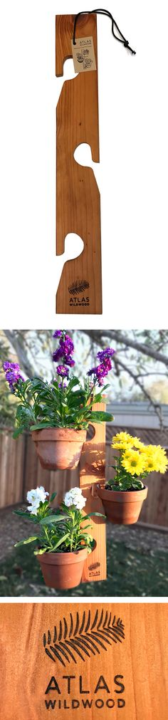 Atlas Wildwood Redwood Three Pot Hanger - Natural Wooden Terra Cotta Terracotta Potted Plant Hook Holder Wood Pot Hanger For Herb Garden Succulent Cactus Small Plants Flowers, great for apartments, small patio gardens, urban gardens