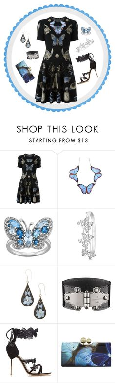 """The Butterfly Effect"" by yvonnewarren ❤ liked on Polyvore featuring Alexander McQueen, Allurez, Louis Vuitton, Sophia Webster and Ted Baker"
