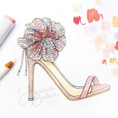Tropical sequin blooms inspired by for Fashion Sketches, Fashion Illustrations, Girly Things, Girly Stuff, Fashion Art, Fashion Design, Painted Shoes, Aquazzura, Planner Stickers