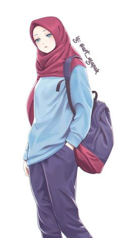 Cool Anime Girl, Cute Cartoon Girl, Anime Art Girl, Manga Girl, Cartoon Art, Hijab Drawing, Moslem, Islamic Cartoon, Hijab Cartoon