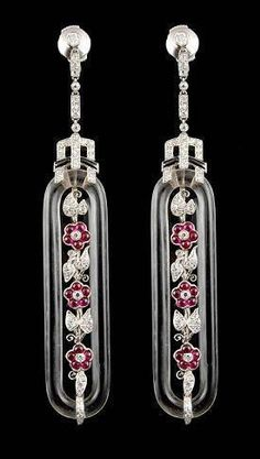 Platinum Crystal, Ruby, and Diamond Earrings - Yafa Jewelry