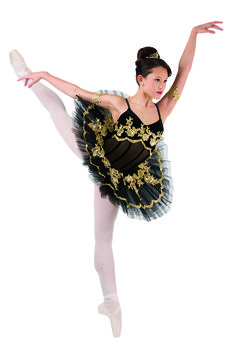 Ballerinas will feel regal wearing costumes with gold accents like this tutu by Costume Gallery. #FashionFriday