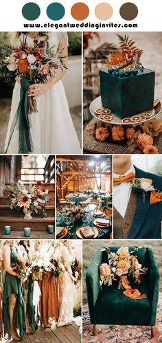 Emerald Wedding Colors, Orange Wedding Colors, Emerald Green Weddings, Fall Wedding Colors, Wedding Color Schemes, Autumn Wedding Ideas October, Autumn Wedding Themes, Wedding In September, Orange Wedding Decor