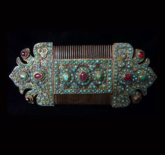 Uzbekistan | Old Silver, gilt silver, turquoise and amethyst comb. Bukhara