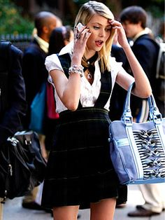 Gossip Girl Season Two: Get the Look  Episode 205: The Serena  Also Rises  Jenny tries to explain herself out of another sticky situation. She wears Tarina Tarantino jewelry, a French Toast uniform, a Zara blouse and carries a bag by Katherine Kwei.