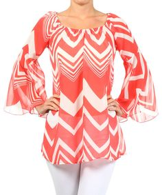 Take a look at the Coral Zigzag Bell-Sleeve Top on #zulily today!