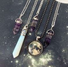 Fluorite Necklaces, Opalite Pendant, and Handmade Moon Jewelry!