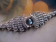 Silver Bracelet, Labradorite Gemstone, Chainmaille, via Etsy.