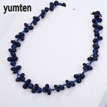 Yumten Lapis Lazuli Braided Necklace Natural Stone Crystal Lady Pendant Fashion Boutique Handmade Bead Chain Bisuteria