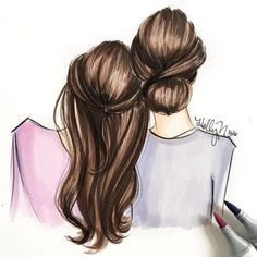 Mothers day drawings, drawings of friends, bff drawings, mother daughter ar Best Friend Drawings, Girly Drawings, Mother And Daughter Drawing, Mothers Day Drawings, Mom Drawing, Bff Girls, Bff Pictures, Art And Illustration, Illustration Fashion