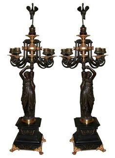 Beautiful Pair of Italian Bronze Figural Candelabras - Italy c. 19th Century