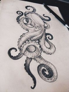 Image result for hairline tattoo octopus