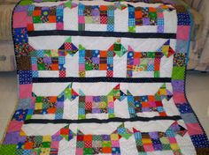 Quilt-Baby or lap- Scrap Patch Pups