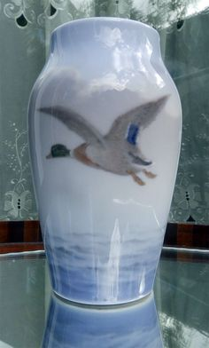 Vintage Porcelain : A Royal Copenhagen Vase decorated with a flying Mallard