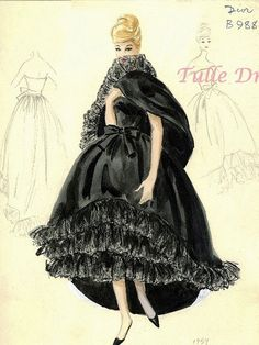 Dior Fashion Sketches Illustrations 8X10 or Custom by TulleDress, $25.00