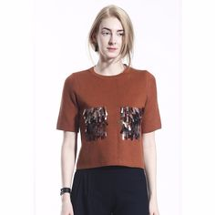 COLE COOL Women's Mocha Knit Top with Colourful Sequins Embellished Pocket #COLECOOL #CropTop #Casual