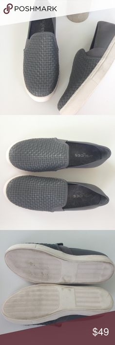 """J/Slides NYC Woven Leather Slip on Sneakers NWOB This is a woven leather sneaker with elastic goring insets. A perfect casual sneaker that add a touch of style to any outfit. Features a 3/4"""" mudguard. Leather Upper Leather Lined Rubbed Sole Slip On Fit: Runs True to Size. New without Box, some minor scuffing on the soles and sides of sneaker, please see pictures.  Shoe measures approx 10"""" long and 3.4"""" at the widest part of the sole. J/Slides Shoes Sneakers"""