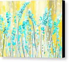 Yellow Canvas Print featuring the painting Turquoise And Yellow by Lourry Legarde