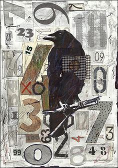 Sale Raven Original Abstract Collage Art Mixed Media Modern Emanuel M Ologeanu | eBay