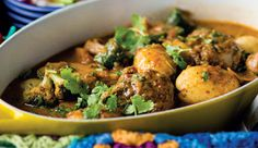 Curried lamb potjie with onion flatbreads. #Recipe.