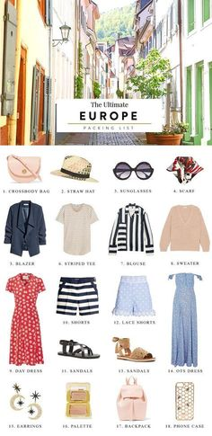 europe packing list europe packing list summer europe packing list spring study abroad carry on checklist 2 weeks international trip pack light outfit inspiration summer vacation vacation outfits style fashion backpack off the shoulder dresses Summer Packing Lists, Packing For Europe, Packing List For Travel, Backpacking Europe, Europe Europe, Packing Tips, Packing Light Summer, Backpacking Style, Study Abroad Packing