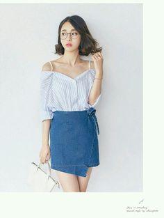 cold shoulder top + wrap denim skirt