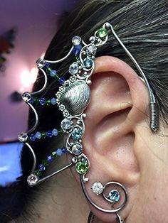 Silver Mermaid Elven EAR CUFFS with Gills, Fairy Ear Cuffs, Cosplay Elf Ear Cuffs, Fantasy Costume Ear Cuffs with Ocean Shells and Mermaid Themed