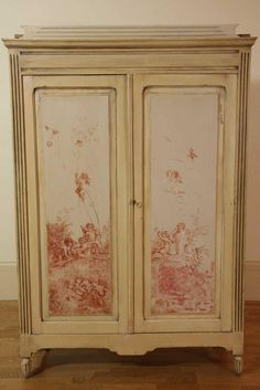 An antique country pine two door painted armoire, the painted… - Wardrobes - Furniture - Carter's Price Guide to Antiques and Collectables