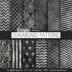 Chalkboard digital paper CHALKBOARD PATTERNS digital by Grepic