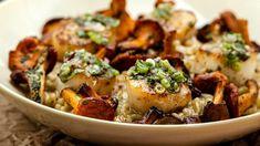 Orgetto aux champignons accompagné de pétoncles saisis | Mordu Marina Orsini, Risotto, Salsa, Bolet, Potato Salad, Pizza, Potatoes, Meat, Chicken