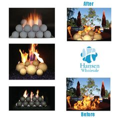 Realfyre gas spheres are a great alternative to gas logs, etc. adding a chic and modern touch to your outdoor gas fire pit.   http://www.hansenwholesale.com/gas-logs/fireballs-spheres.asp?source=FF042415 #FireplaceFriday