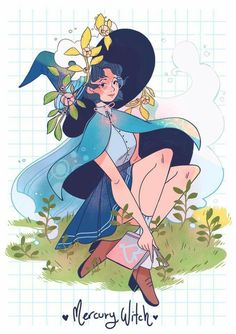 Sailor Mercury as a Witch by Lana Jay Sailor Moon S, Sailor Moon Crystal, Sailor Jupiter, Sailor Mercury, Manga Comics, Marvel Comics, Character Art, Character Design, Witch Drawing