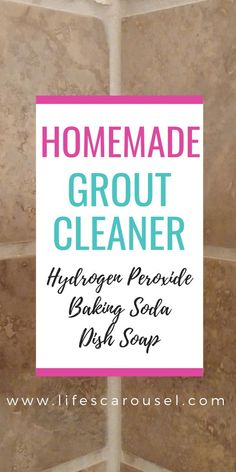 How to Clean Tile Grout - The best homemade grout cleaner! This grout cleaner is the best solution to your dirty grout problem! Hydrogen peroxide, baking soda, and dish soap! Try this DIY grout cleaner will clean your kitchen, bathroom, tub, wall and floor tile grout!