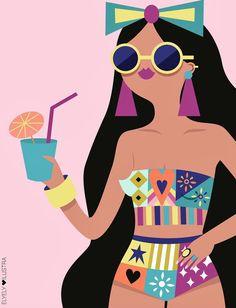 Ilustraciones llenas de color sobre mujeres en su mundo, amigas que hablan de moda, fondos de pantalla femeninos, imágenes divertidas en tonos rosas y pasteles. Esta ilustradora nos enseña de amor propio con frases con las que seguro de sentirás identificada.