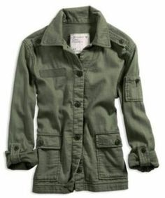 Army Green Women's Button Down Jacket from AE