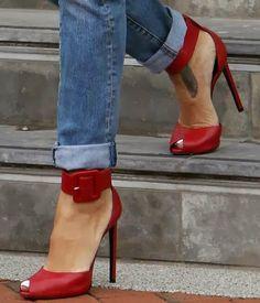 Smart red high heel sandals