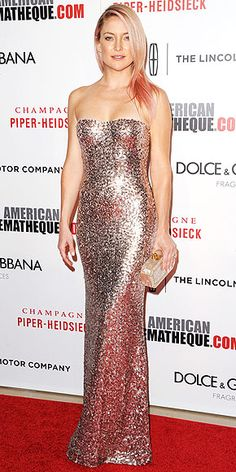 Last Night's Look: Love It or Leave It? | KATE HUDSON | All that glitters is…Kate! The actress, who just streaked her hair pink for a good cause, dazzles from head to toe in a blush, sequined strapless Jenny Packham gown and a pearly Edie Parker clutch at the American Cinematheque Award gala honoring Matthew McConaughey.