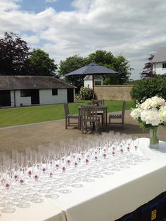 Champagne on the Terrace at Hendall Manor Barns